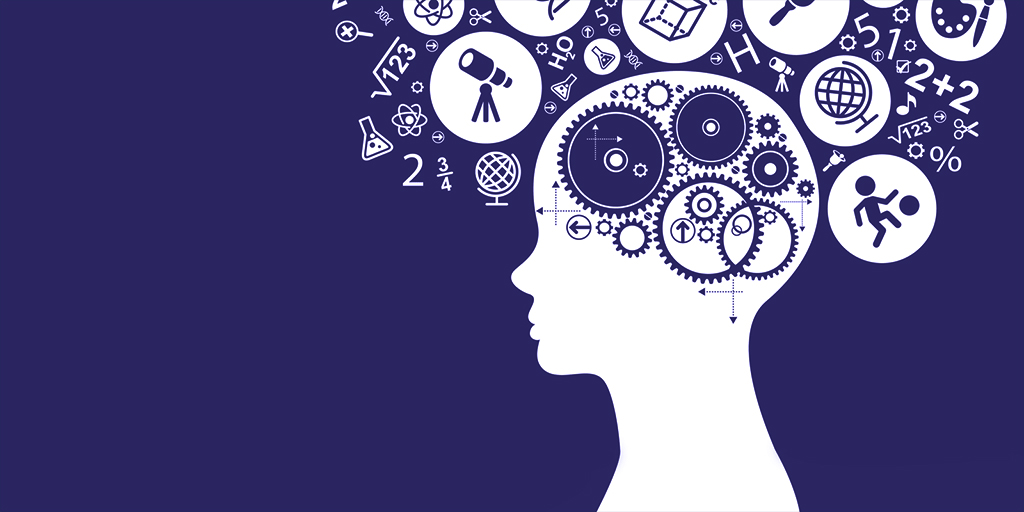 Graphic of head with thoughts and gears on solid indigo background